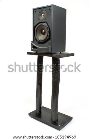 Black sound speaker on stand isolated on white - stock photo