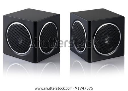 Black sound speakers. - stock photo