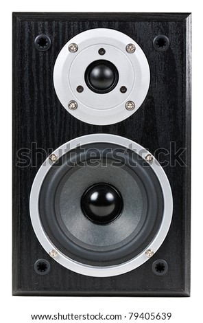 black speaker isolated on a white background - stock photo