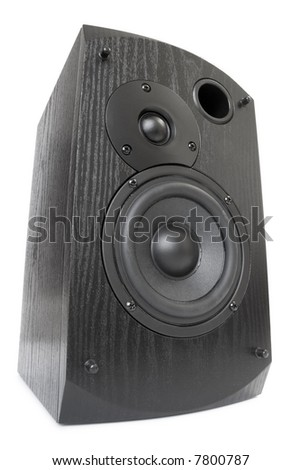 black speaker isolated on white - stock photo