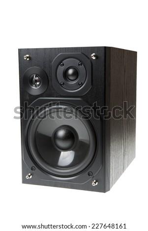Black speaker isolated on white background  - stock photo
