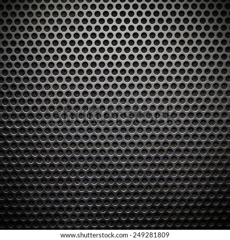 Black speaker lattice background, close-up - stock photo
