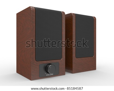 Black speakers isolated on white background