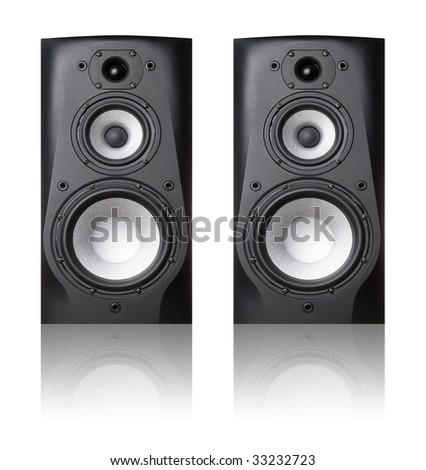 Black speakers on white background (isolated). - stock photo
