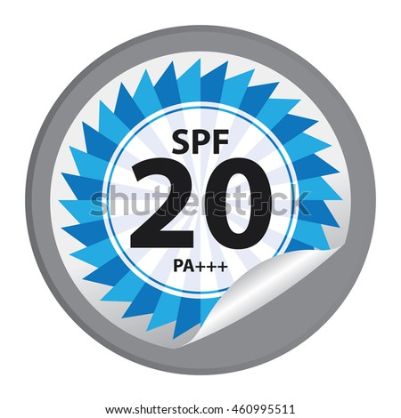 Black SPF 20 PA+++ Product Information Label Infographics Icon on Circle Peeling Sticker Isolated on White Background