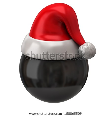 Black sphere and christmas hat