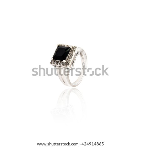 Black spinel diamond ring isolated on white - stock photo