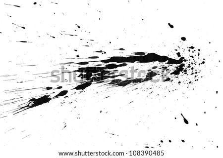 Black splashes. On a white background . - stock photo