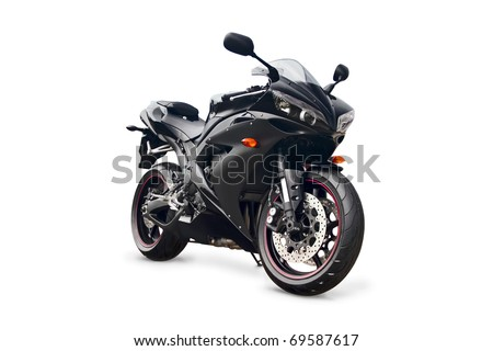 black sport bike on a white background - stock photo