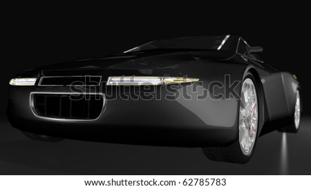 Black sport car - front perspective view - stock photo