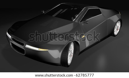 Black sport car - front side view - stock photo