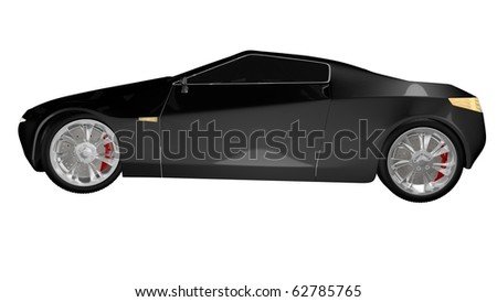 Black sport car isolated - side view - stock photo