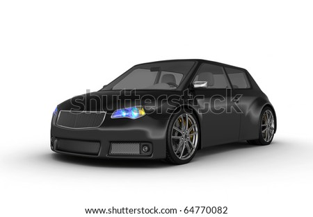 Black sports car - 3d render