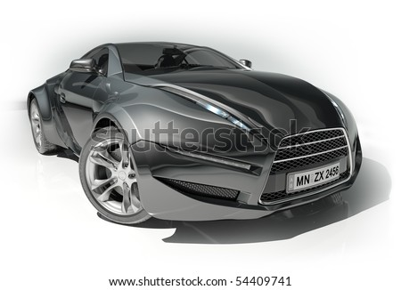 Black sports car isolated on white background.  My own car design. - stock photo