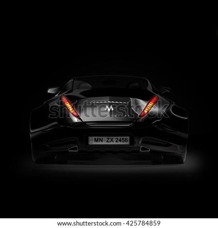 Black sports car. Original car design. 3D illustration. - stock photo