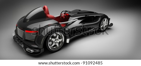 Black Sports car road-star 3d render (No trademark issues as the car is my own design)