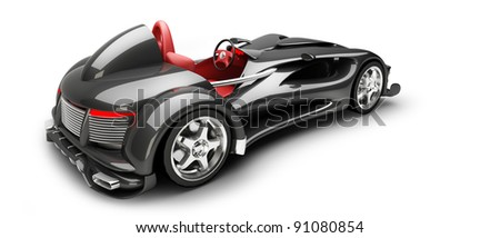 Black Sports car road-star isolated on white 3d render (No trademark issues as the car is my own design) High resolution