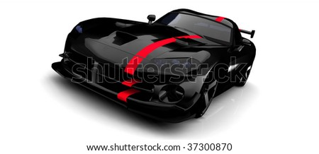 Black sports car with red stripe - isolated on white - stock photo