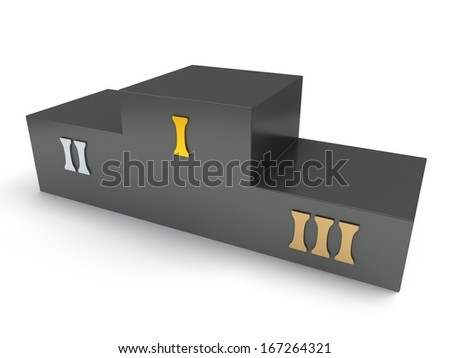 Black sports winner podium for the first, second and third place isolated on white. Gold, silver and bronze. 3D render
