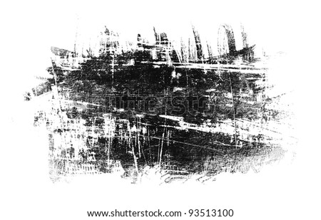 black spot grunge, drawn with a brush on a white - stock photo