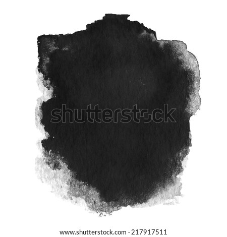 Black  spot, watercolor abstract hand painted textured background isolated on white  - stock photo
