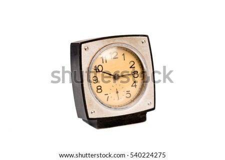 Black square clock on a white background. Isolated