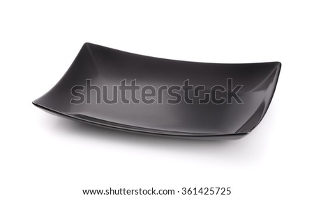 Black square empty plate isolated on white - stock photo