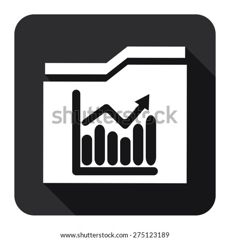 Black Square Folder With Bar Chart Flat Long Shadow Style Icon, Label, Sticker, Sign or Banner Isolated on White Background