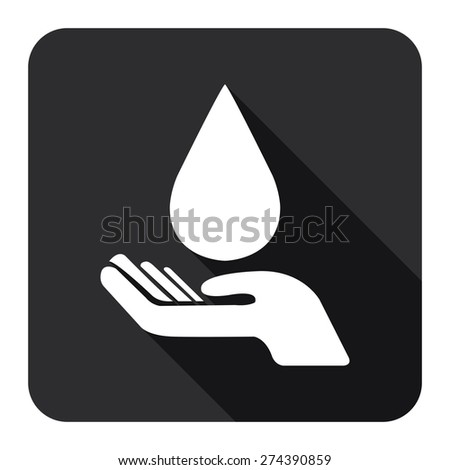 Black Square Hand Hold Water Drop Flat Long Shadow Style Icon, Label, Sticker, Sign or Banner Isolated on White Background - stock photo