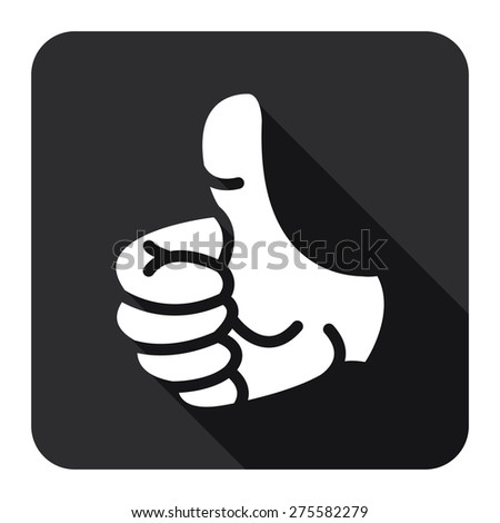 Black Square Thumb Up Flat Long Shadow Style Icon, Label, Sticker, Sign or Banner Isolated on White Background