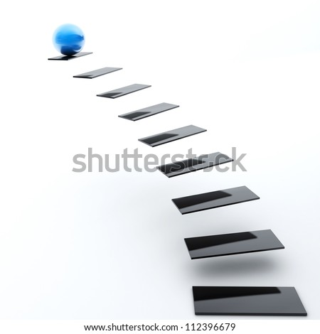 Black Staircase with Blue Sphere - stock photo