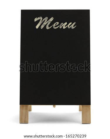Black Stand Up Menu Chalk Board Isolated on White Background. - stock photo