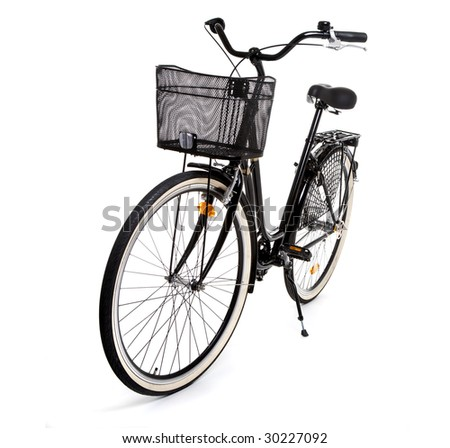 Black, standard bicycle isolated on white background