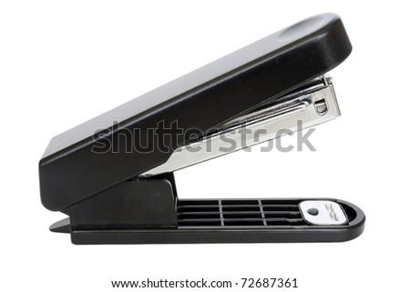 Black stapler isolated - stock photo