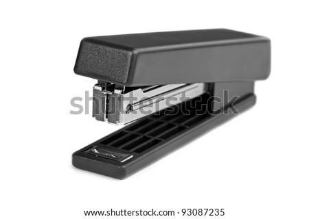 Black stapler isolated on a white background - stock photo