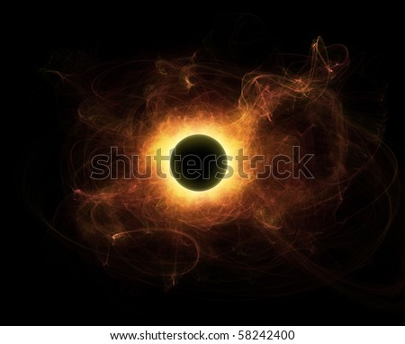 black star with huge solar flare - stock photo
