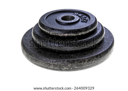 Black steel dumbbell load