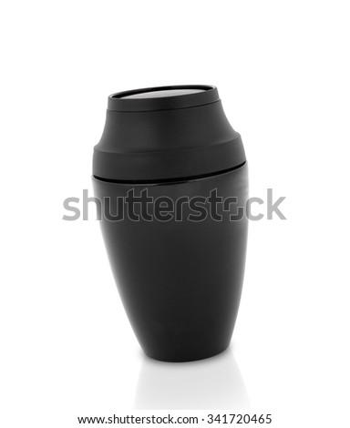 black Steel thermos - stock photo