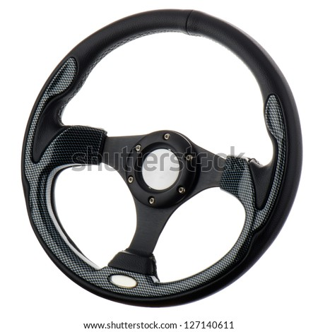 Black steering wheel isolated on withe background. - stock photo