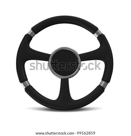 Black Steering Wheel on white background - stock photo