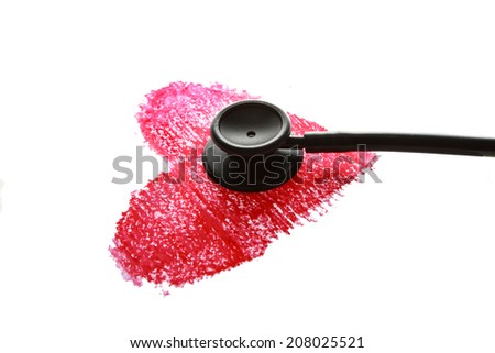 Black stethoscope on crayon heart