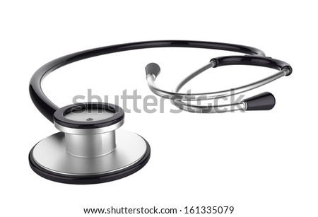 Black stethoscope on white background