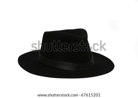 black stetson isolated on white - stock photo