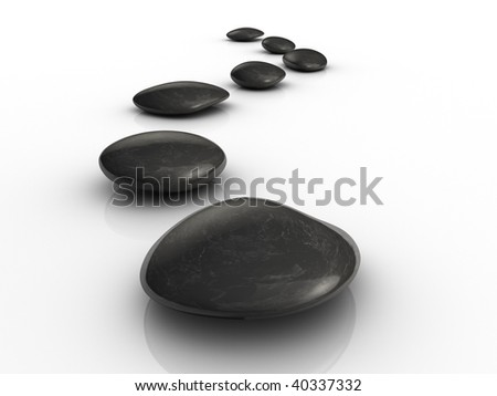 Black stones arranged on white surface - 3d render - stock photo