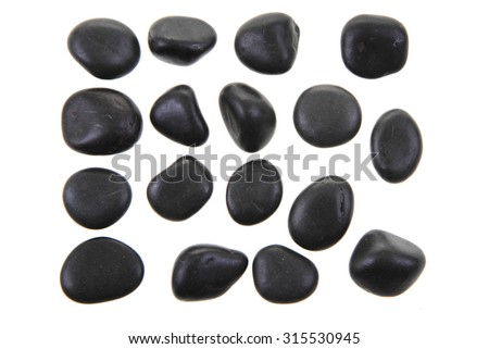 black stones isolated on the white background