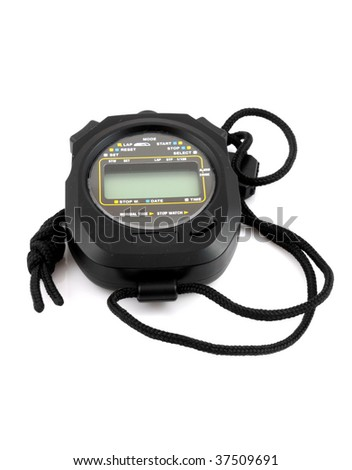 Black stopwatch isolated on white background