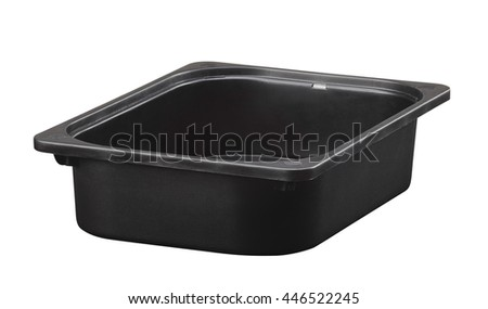 Black store box isolated on white background. Include clipping path