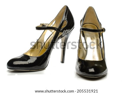 Black strappy shoes - stock photo