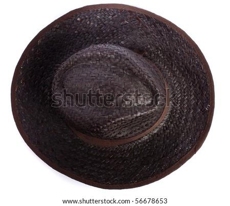 black straw hat - stock photo