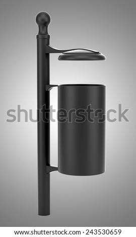 black street garbage bin isolated on gray background